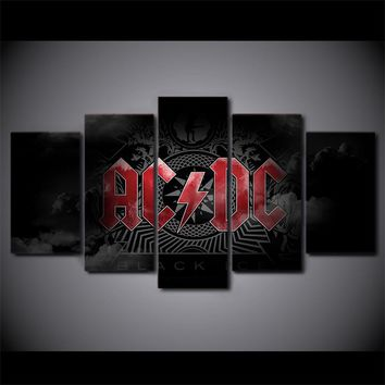 5 Piece Canvas Art AC DC Rock Band Black Ice Modular Painting Wall Picture