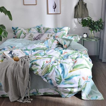 TUTUBIRD Green leaf leaves print 100% Cotton bedding set duvet cover pastoral style princess home textile bedclothes bedspread