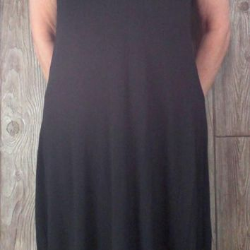 Cute Threads 4 Thought Dress L XL size Black Stretch Jersey Crochet Shoulder Comfortable