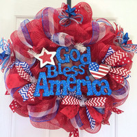 God bless America 4th of July/summer deco mesh front door wreath