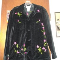 Quacker Factory Womens Factory Black Velvet Roses Xs Jacket