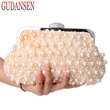 GUDANSEN Rose Beaded Women Evening Bag Clutch Wedding Bridal Floral Imitation Pearls Lace Handbags Shell Purse Bags White Black