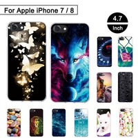 Soft Silicon Case For iPhone 7 8 Back Phone Cover For iPhone7 Protection Cases Covers For iPhone8 TPU Painted Shells Ultra Thin