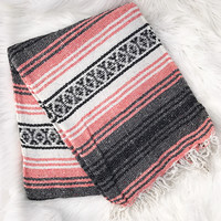 Authentic Mexican Blanket in Peach