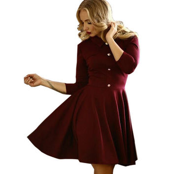 2016 Elegant Women Dresses Solid Tutn-down Collar Sexy Mini Dress Fit and Flare Dress Casual Slim Party Dress Vestidos M0519