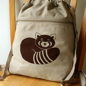 Red Panda Canvas Backpack