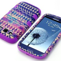 MagicSky Plastic + Silicone Tuff Nebula Tribal Pattern Hybrid Case for Samsung Galaxy III S3 i9300 - 1 Pack - Retail Packaging - Purple