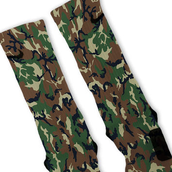 Woodland Camouflage Custom Nike Elite Socks