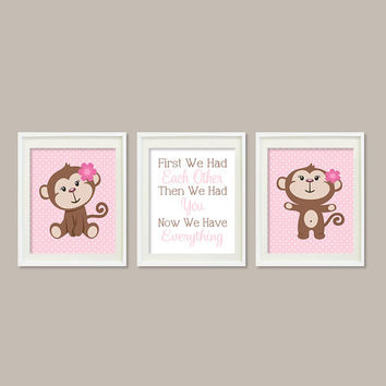 Girl MONKEY Nursery Art Quote First We Had Each Other Quote Pottery Set of 3 Prints Pink Nursery Decor Playroom  Wall Art Monkey Bedding