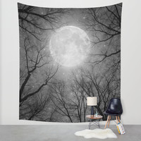 May It Be A Light (Dark Forest Moon) Wall Tapestry by Soaring Anchor Designs