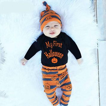 Halloween Clothing for Newborn Babies for Little Girls Black Body+pumpkin Pants+hat Clothes for Baby Costumes Set