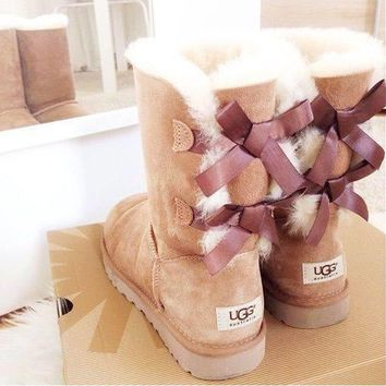 UGG:: bow leather boots boots in tube Pink G-1