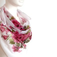 BUY ANY 3 GET 1 OF THEM FREE, large cotton scarf, large square scarf, head scarf, summer scarf, light soft scarf, pattern scarf, flowers scarf, pink shawl, blanket scarf