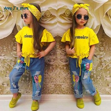 Fashion baby girl clothes cotton short-sleeved letter yellow T-shirt + Jeans +hairband.