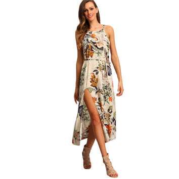 Multicolor Floral Print Halter Boho Maxi Beach Spaghetti Strap Patterned Backless Split Dress
