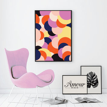 Wall Art, Colorful Confetti Print, Mid Century Print, Wall Decor, Abstract Art Prints, Affiche, Modern Art Poster, Extra Large Wall Art.