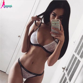 Gagaopt 2016 Bra Set Sexy Lace Bra Women's Underwear Print Lounge Black White  Lingerie Underwear Sets for Women Ensemble Soutie