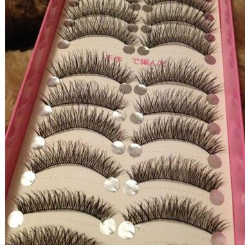10 Pairs/set Natural Long False Eyelashes Thick Cross Makeup Beauty Fake Eyelashes cilios Fake Eye Lashes Extension Tools