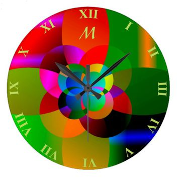Abstract Cool Cute Fractal Neon Psychedelic Large Clock