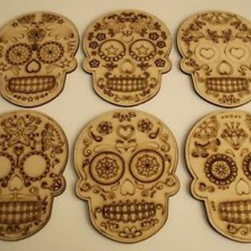 Skulls,Sugar Skull,Laser Cut Outs,Wood Dia de los Muertos Skull,Unfinished Wood