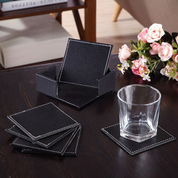 LS4G 4'' 6pcs set Double-deck Leather Coasters Set Placemat of Cup with Coaster Holder PU Leateher Coffee Tea Cup Pad Cup Mat