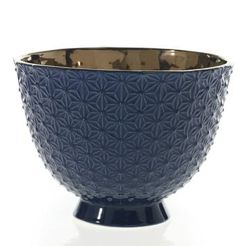 """Pierre Ceramic Large Compote Bowl in Navy Blue and Copper6.75"""" Tall x 9"""" Diameter"""