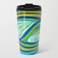 Yin & Yang | Abstract Oil Painting Metal Travel Mug by mariameesterart