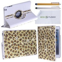 Eco-Fused Rotating Faux Leather Bling Case for Apple iPad Mini - including 2 Stylus Pens - 2 Screen Protectors - Microfiber Cleaning Cloth (Leopard)