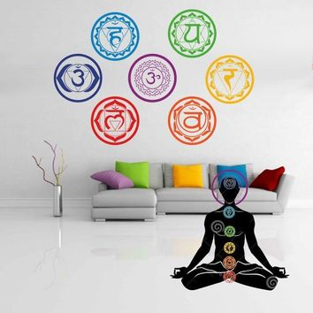 7pcs/Set Colorful Seven Chakras Vinyl Wall Stickers Mandala Yoga Om Meditation Symbol Wall Decals Home Decor Decoration