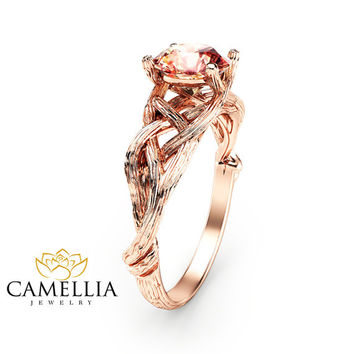 14K Rose Gold Morganite Engagement Ring Rose Gold Branch Ring Unique Morganite Twig Ring