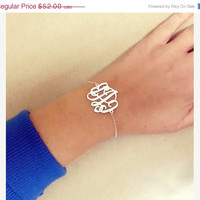 ON SALE 40% Personalized Monogram Bracelet 1 inch - 925 Sterling Silver