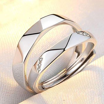 Engagement None Trendy Lovers' Real Lover S925 Couple Rings Japanese Students Simple Personality