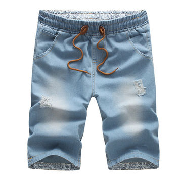 BOLUBAO Men Short Jeans Brand Cotton Straight Ripped