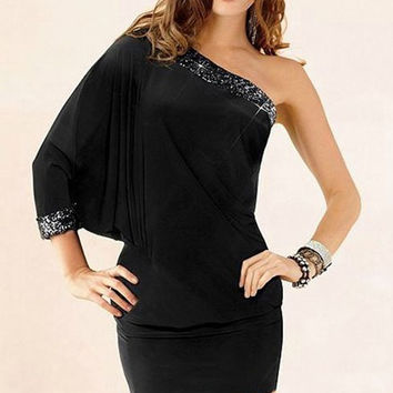 Black One-Shoulder Batwing Sleeve Mini Dress