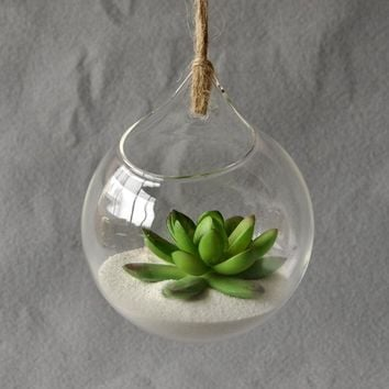 Hanging Glass Vase Hanging Terrarium Glass Vase Hydroponic Flower Container Planter Pot Office Home Garden Vases Decor Ornament