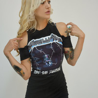 Metallica Cut-Off Shoulder Dress