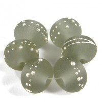 Transparent Gray Handmade Lampwork Glass Beads 048 Shiny (Choices of Etched, .999 Fine Silver, Shapes, Sizes, Large Hole Beads Extra)