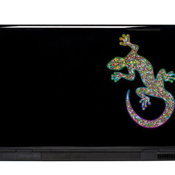 Gecko Ornate Vinyl Laptop or Automotive Art FREE SHIPPING decal laptop notebook art sticker ornate detailed colorful lizard gecko skink