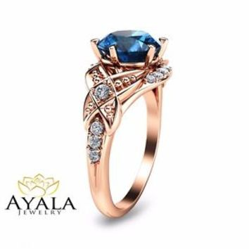 Rose Gold Engagement Ring-14K Rose Gold London Blue Topaz Engagemnt Ring