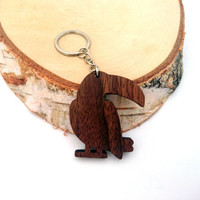 Toucan Wooden Keychain, Toucan Animal Keychain, Wooden Bird Animal Keychain, Walnut Wood, Environmental Friendly Green materials