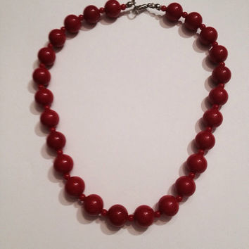 Vintage Red Plastic Bead Choker Necklace Costume Jewelry