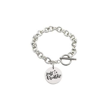 Solid Stainless Steel Inspirational Toggle Bracelet - Just Breathe
