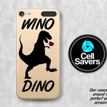 Wino Dino Clear iPod 5 Case iPod 6 Case iPod 5th Generation iPod 6th Generation Rubber Case Gen Clear Case Red Wine Dinosaur Funny Tumblr