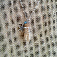 Beach sand and starfish charm necklace