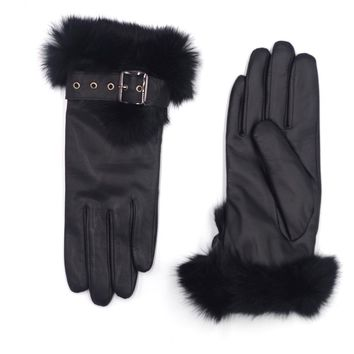 Harssidanzar Womens Touchscreen Texting Winter Leather Gloves Lined Rabbit Fur Cuff