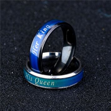 Temperature Mood Emotion Feeling Change Stainless Steel RingS Color His Queen Her King Women Men Couple Ring
