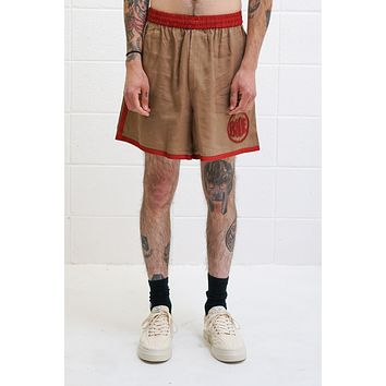 Beaded Rugby Shorts in Brown