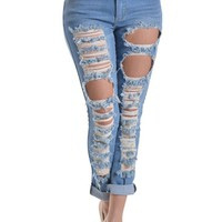 Ripped Roll-Up Skinny Jeans RJL344 - D4G