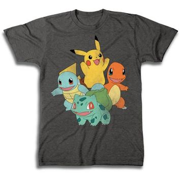 Pokemon Vintage-style Group Shot Men's Short Sleeve T-shirt - Walmart.com