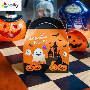 Happy Halloween Cartoon Pumpkin Ghost Candy Boxs Birthday Party Baby Shower Decor Gift Organizer Paper Box Kids Favor Supplies,5